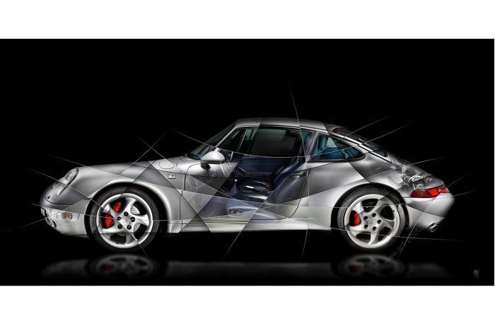 Porsche 911 type 993 Photo d'art limitée et signée par l'artiste