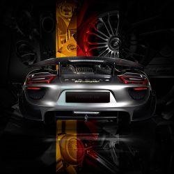 Art photography Porsche 918 back German flag edition