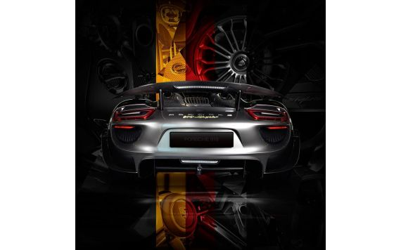 Tableau Porsche 918 back German flag edition Photographie d'art