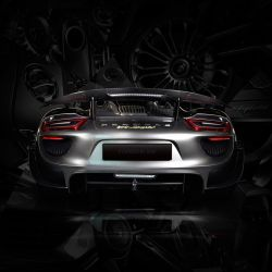 Tableau Porsche 918 back black edition