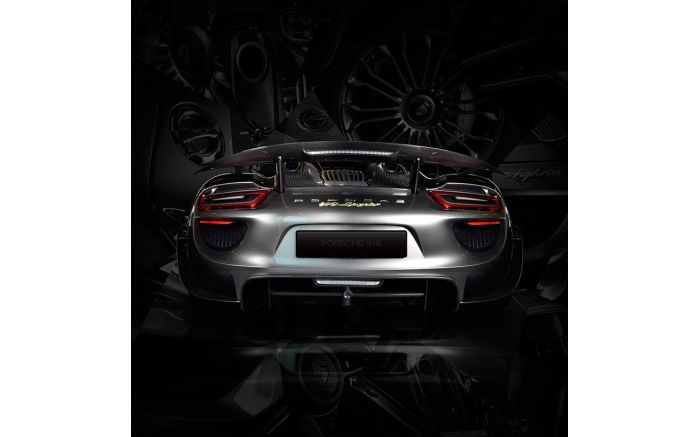 Tableau Porsche 918 back black Photographie d'Art