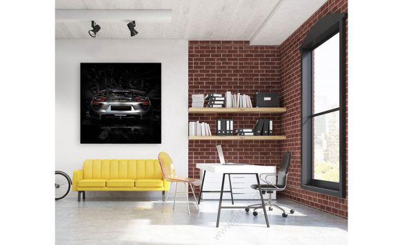 Tableau Porsche 918 back black Photographie d'Art