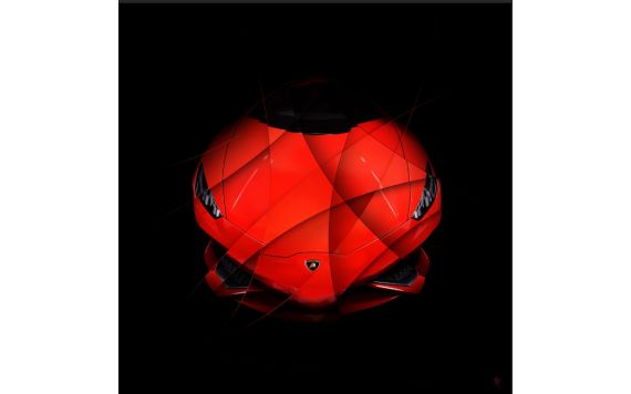 Photo d'art Lamborghini Huracan rouge Face