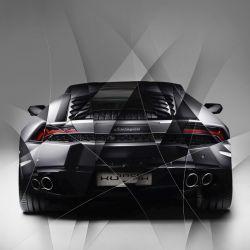 Art photography Lamborghini Huracan grey back