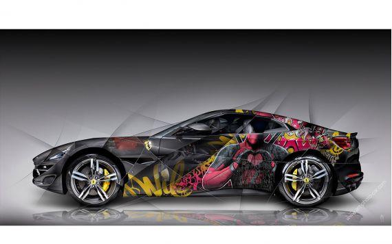 Photographie d'art Ferrari Portofino Pop Art - Edition signée & limitée