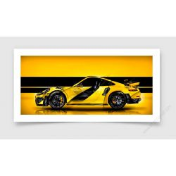 Tirage d'art Porsche 911 GT2 RS type 991 Yellow edition