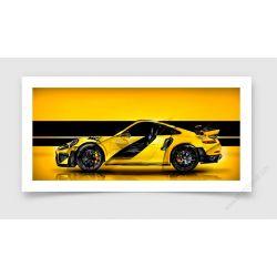 Fine Art Print Porsche 911 GT2 RS type 991 Yellow edition Limited Artwork