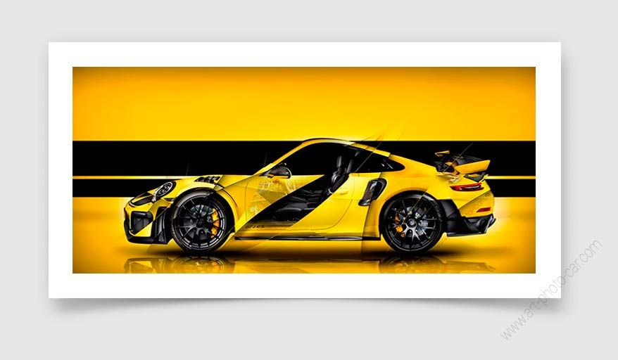 Porsche 911 Gt2 Rs Type 991 Yellow Signed Limited Fine Art Print