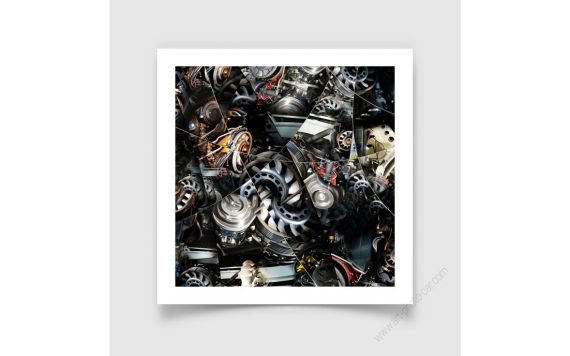 Porsche Motor, Fine Art Print of Porsche engine