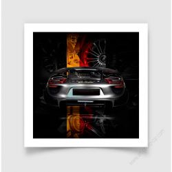 Fine Art Print Porsche 918 back German flag edition
