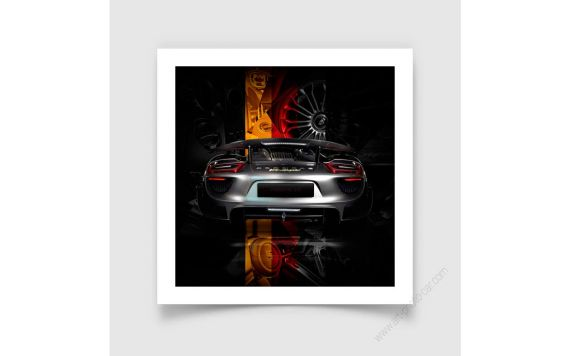 Tirage d'art Porsche 918 back German flag edition