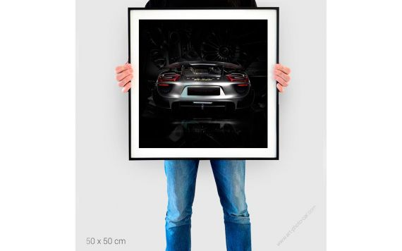 Tableau Porsche 918 back black edition Tirage d'art