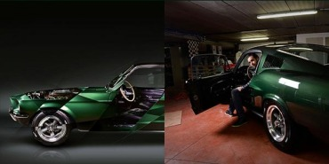 Artist signs a photographic artwork dedicated to the Ford Mustang & 50 years of Bullitt