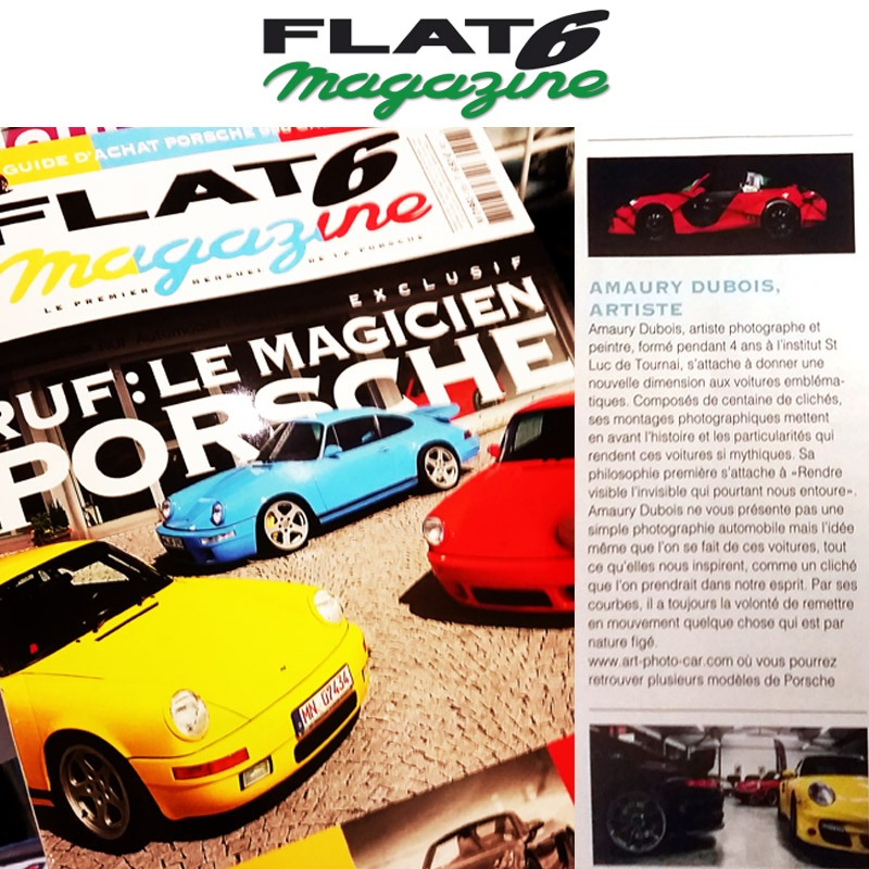 """ Flat6 magazine "" present the artworks about the Porsches of the artist 